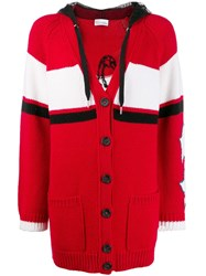 Red Valentino V Slogan Knitted Cardigan Red