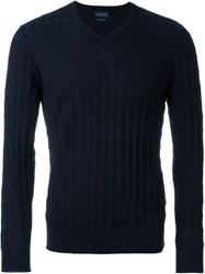 Ballantyne V Neck Jumper Blue