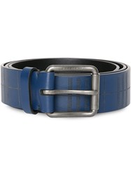 Burberry Perforated Check Leather Belt Blue