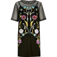 River Island Womens Black Embroidered Mesh T Shirt Dress