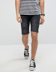 Good For Nothing Super Skinny Denim Shorts In Black With Distressing Black