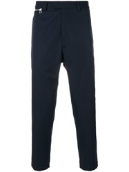 Oamc Tapered Cropped Trousers Men Cotton Virgin Wool 32 Blue