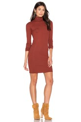 Enza Costa Rib Long Sleeve Turtleneck Mini Dress Rust