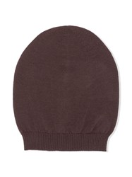 Rick Owens Ribbed Knit Beanie Brown