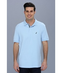 Nautica S S Solid Polo With Tape Noon Blue Men's Short Sleeve Pullover