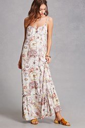 Forever 21 Lace Up Floral Maxi Dress Dusty Lavender