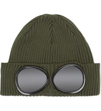 C.P. Company Cp Goggle Knitted Cotton Beanie Green