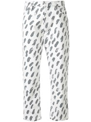 Marni Patterned Cropped Jeans White