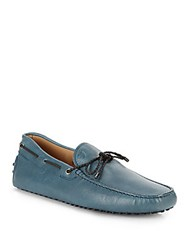 Tod's Leather Slip On Loafers Blue Petro