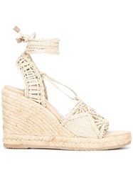 Paloma Barcelo Tie Around Wedged Sandals Nude Neutrals