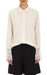 Chloe Women's Silk Lace Cuff Blouse Pink