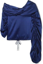 Hellessy Sunshine Draped Asymmetric Silk Charmeuse Blouse Blue