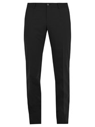 Dolce And Gabbana Slim Fit Stretch Wool Blend Trousers Black