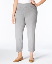Alfred Dunner Plus Size Uptown Girl Collection Pull On Stretch Ankle Pants Grey
