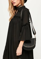 Missguided Black Studded Guitar Strap Cross Body Bag