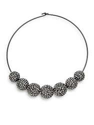 Kenneth Jay Lane Hematite Bead Choker Necklace Gunmetal Tone