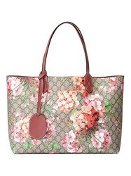 Gucci Reversible Gg Blooms Leather Tote Leather Canvas Nude Neutrals