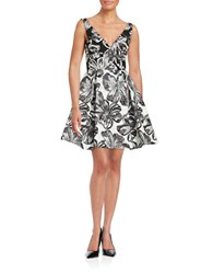 Vera Wang Floral Fit And Flare Dress Ivory Grey