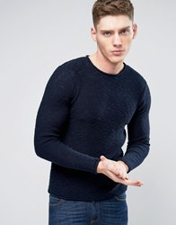 Only And Sons Knitted Sweater In Loose Knit Raw Hem Navy