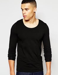 Asos Muscle Long Sleeve T Shirt With Scoop Neck In Black