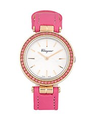 Salvatore Ferragamo Sparks Topaz And Sapphire Crystal Watch Pink