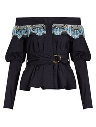 Peter Pilotto Lace Trim Off The Shoulder Cotton Blend Top Navy