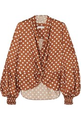 Caroline Constas Bette Polka Dot Silk Satin Blouse Brown