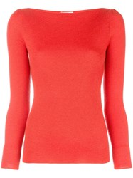 Co Boat Neck Knitted Jumper Red