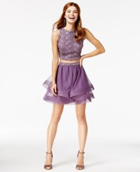 City Studios Juniors' 2 Pc. Crochet A Line Dress Light Pastel Purple