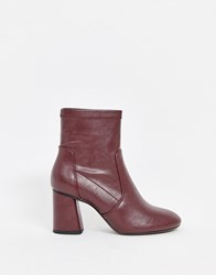 Bershka Faux Leather Heeled Boot In Burgundy Red
