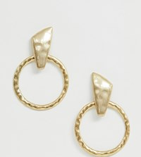 Designb London Hammered Gold Oversized Hoop Earrings