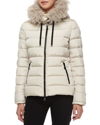Moncler Cintrat Fur Trim Hooded Puffer Coat Champagne