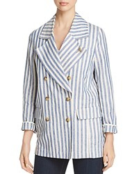 Scotch And Soda Striped Double Breasted Linen Coat Combo A