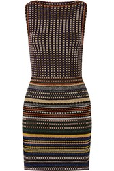 Missoni Striped Metallic Crochet Knit Mini Dress Navy