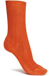 Missoni Metallic Ribbed Knit Socks Copper