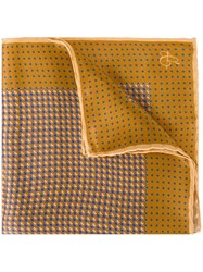 Canali Printed Pocket Handkerchief Yellow And Orange