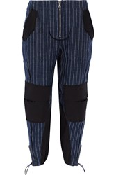 3.1 Phillip Lim Pinstriped Cotton Blend Paneled Linen Tapered Pants Navy