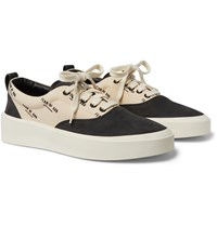 Fear Of God 101 Logo Print Canvas And Nubuck Sneakers Black