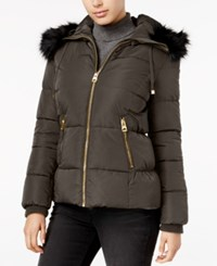 Guess Faux Fur Trim Hooded Puffer Coat Only At Macy's Olive