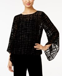 Alfani Velvet Burnout Blouson Top Only At Macy's Deep Black