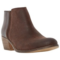 Dune Penelope Mixed Material Low Heel Ankle Boot Brown Suede