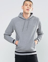 Fred Perry Hoodie With Contrast Hem In Steel Marl Steel Marl Grey