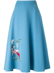Vivetta Bird Embroidered A Line Skirt Blue