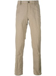 Incotex Wrinkled Slim Trousers Men Linen Flax Wool 31 Nude Neutrals
