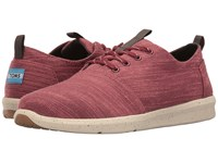 Toms Del Rey Sneaker Pomegranate Slubby Linen Men's Lace Up Casual Shoes Pink