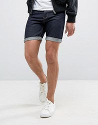 Solid Denim Shorts In Dark Wash Blue