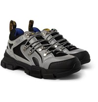 Gucci Flashtrek Reflective Rubber Leather And Mesh Sneakers Silver