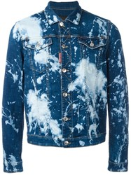 Dsquared2 Bleached Splatter Denim Jacket Blue