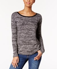 Calvin Klein Jeans Marled High Low Hem Top Black And White Combo