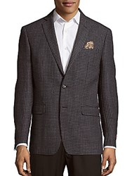 Tallia Houndstooth Plaid Wool Jacket Grey
